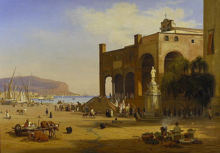 Folkeliv ved havnen i Palermo
