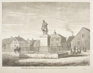 Torvet i Rejkjavik med Thorvaldsens selvportræt statue