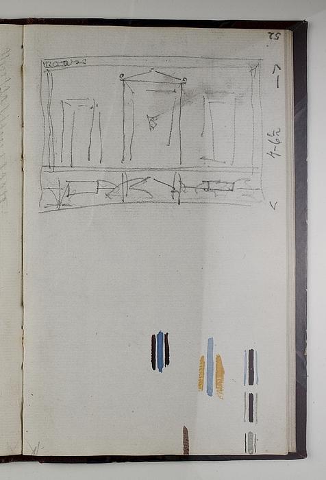 Vægudsmykning fra Pompeji. Farveprøver