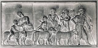 Mor med sine børn ved en fåreflok