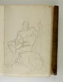 Herkules siddende på løven
