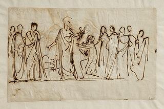 Bertel Thorvaldsen: Kristus overdrager nøglerne til Sankt Peter, 1817-18 (Copyright tilhører Thorvaldsens Museum)
