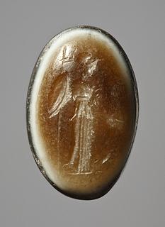 Athene og en ugle. Hellenistisk-romersk ringsten