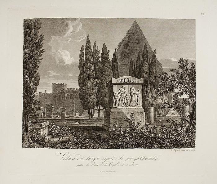 Veduta del luogo sepolcrale per gli'Acattolici ( Prospekt af ikke-katolikkernes gravsteder )