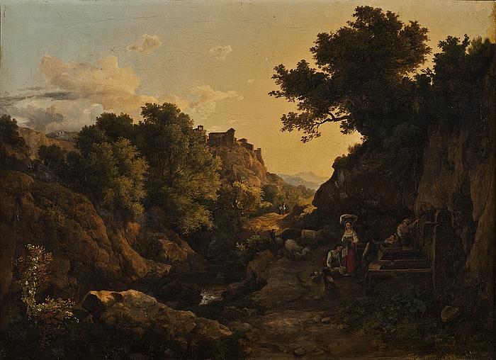 Italiensk bjergegn, kvinder ved en fontæne