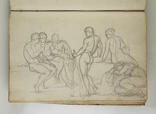 Gruppe af siddende, liggende og stående figurer
