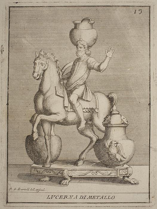 Lampe i form af hest med rytter