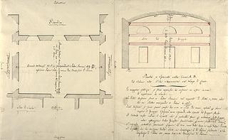 Villa Sommariva før Thorvaldsens frise Alexander den Stores indtog i Babylon opsættes, plan og længdesnit af sal