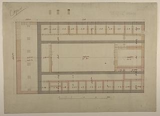 Thorvaldsens Museum, plan af kælder med pilotering og vognremisens fundamenter