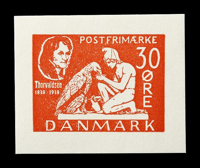 Prøvetryk af udkast til et dansk frimærke med Thorvaldsens Ganymedes og ørnen