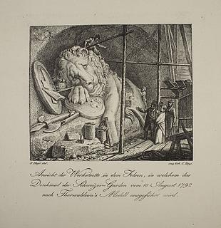 Døende løve (Schweizerløven) under udhugningen i Lucern