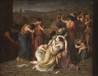 J.L. Lund, Andromache i afmagt ved synet af Hektors lig, skitse, ca. 1803-04, olie på lærred, 49,2 x 62,7 cm, inv.nr. KMS7455, Statens Museum for Kunst