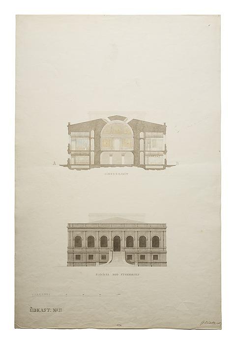 Thorvaldsens Museum, udkast No.2 til tværsnit og opstalt af facade mod Stormbroen