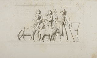 Vogtende krigere og en hyrdefamilie ved byporten