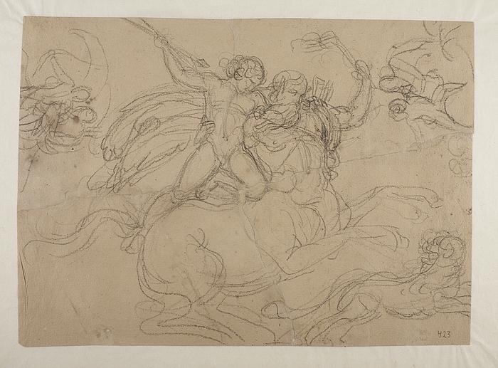 Chiron som lærer for Achilleus, jagende en løve med spyd