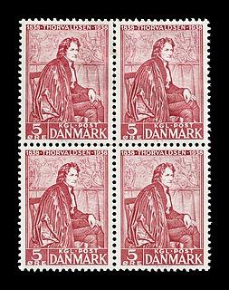 Frimærke-firblok med Portræt af Thorvaldsen i San Luca-Akademiets dragt