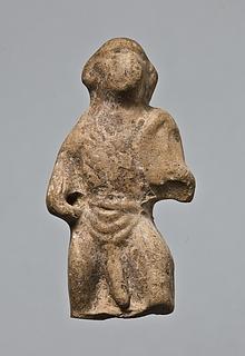 Statuette af en stående abe med et skjold. Romersk