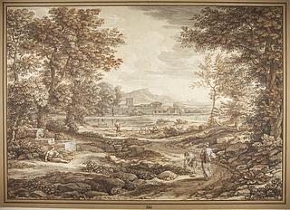 Romersk landskab komponeret over egnen ved Torre del Quinto ved Rom