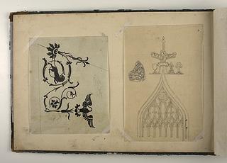 Ornament med svane og panter. Gotisk vindue. Sommerfuglevinge