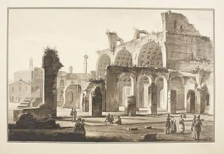 Ruinerne af Basilica Constantiniana ved Roms Forum