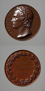 Medalje forside: Digteren Vittorio Alfieri. Medalje bagside: Laurbærkrans og inskription