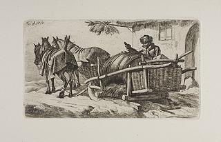 Heste spændt for en bondeslede