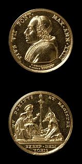 Medalje forside: Pius 7. Medalje bagside: Kristus vasker Peters fødder