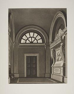 """Det indre af templet i Villa Vigonis have med relieffet """"Julius (Giulio) Mylius' død"""""""