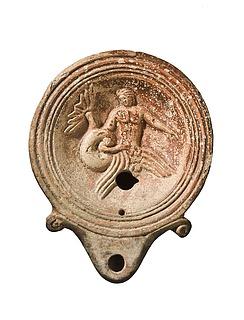 Lampe med Skylla og en sømand. Romersk