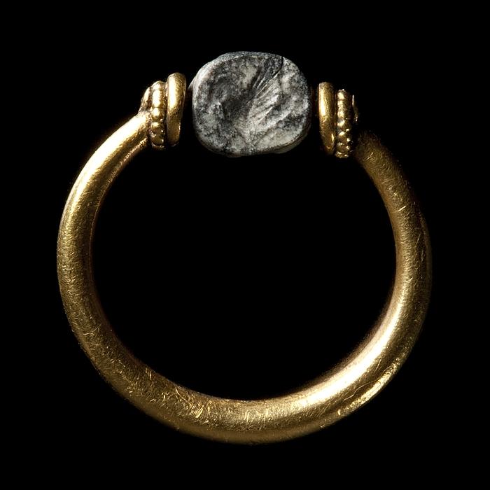 Bevinget havhest. Etruskisk skarabæ i guldring