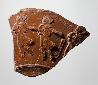 Skål med reliefdekoration af mænader og navnestempler. Romersk
