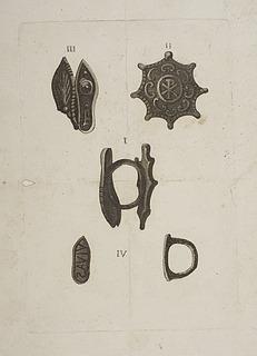 Oldkirkelige fingerringe, én med Kristusmonogram og én med indskrift