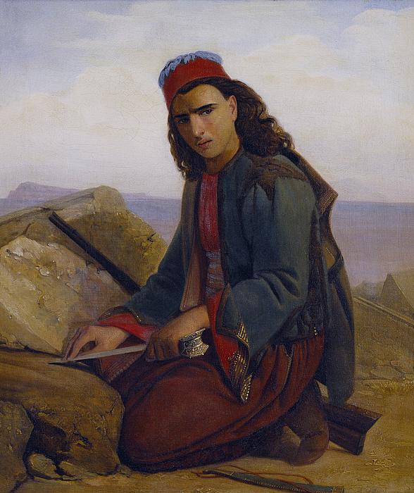 En ung græker hvæsser sin dolk på en klippe
