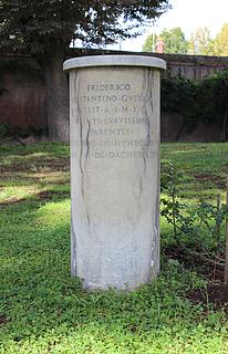 Gravmæle for Friedrich Constantin Gustav Humboldt, Cimitero Acattolico