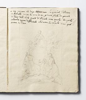 Maria båret af engle viser sig for to munke