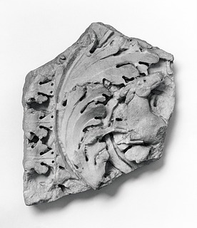 Arkitektonisk relief med akantusblade og en løbende hjort. Romersk