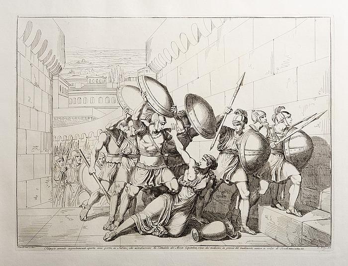 Tarpeja avende segretamente aperta una porta, ai Sabini, che assediavano la Cittadella del Monte Capitolino, viene da i medesimi, in premio del tradimento, uccisa a colpi di Scudi (Tarpeia åbner byportene)