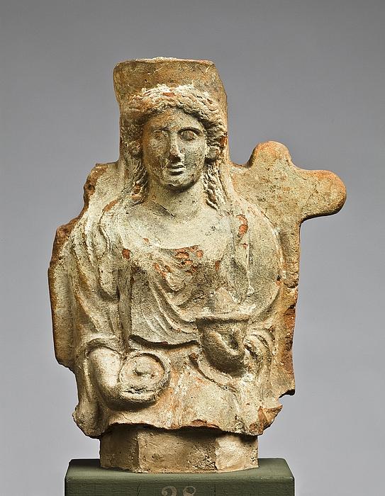 Statuette af en siddende kvinde med en phiale og en skål. Vestgræsk