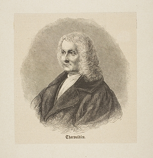 Portræt af Thorvaldsen med 1700-talls paryk