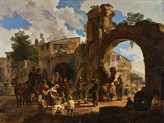 Heinrich Bürkel: Ein Bärenfürer läβt seinen Bären tanzen/ Besuch des Bärensfürers in einem italiennischen Dorf, 1821 - Copyright gehört Thorvaldsens Museum