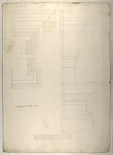 Tempio della Sibilla à Tivoli ( Tempio di Vesta i Tivoli, grundplan og profiltegninger )