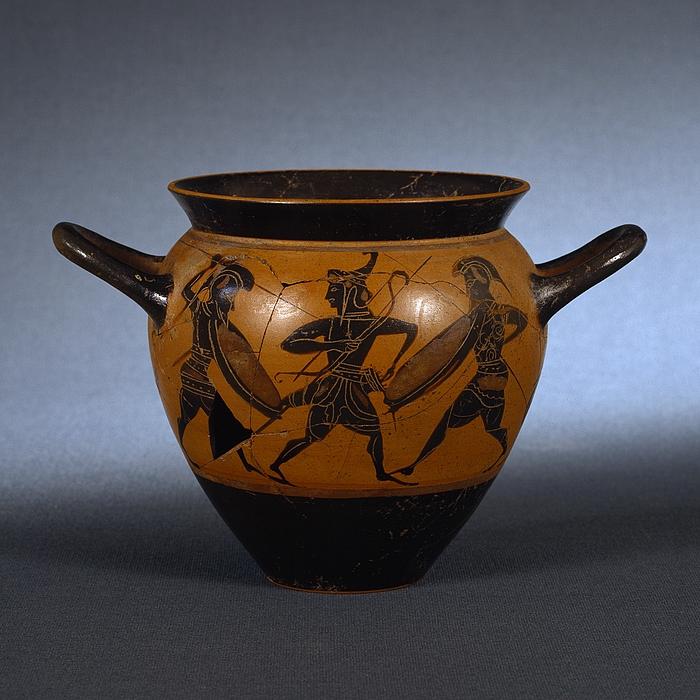 Drikkekop med kampscene (A) og en kriger mellem to kvinder (B). Græsk