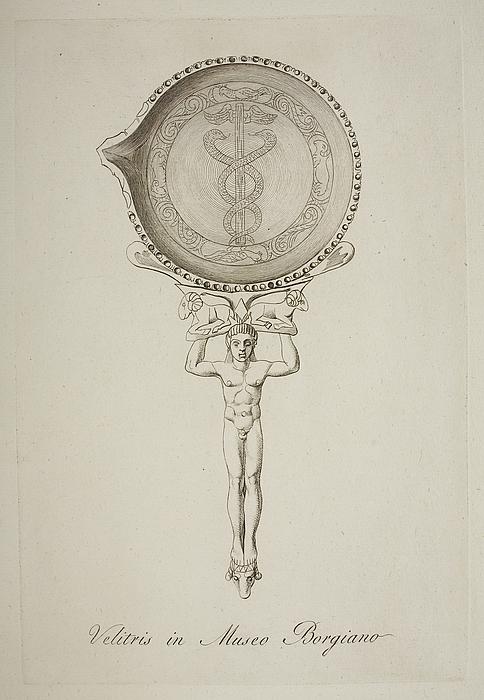 Skål med Æskulap-relief og håndtaget udformet som Merkur