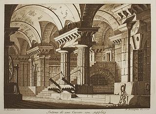 Interno di una Carcere con supplizi ( Det indre af en fængselsbygning med redskaber til tortur )