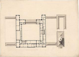 C.F. Hansen, Christiansborg Slot, Kongens Etage, inv.nr. 9343 c, Danmarks Kunstbibliotek, Arkitekturtegninger
