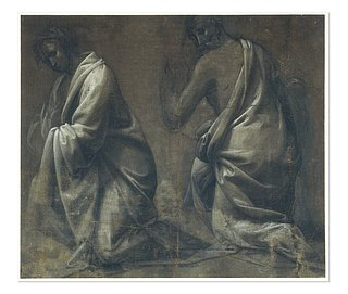 Fra Bartolommeo, Study of the Drapery of a Kneeling Woman and Man