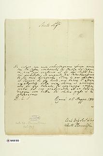 Bertel Thorvaldsen: Brev til Maria Szymanowska af 26.5.1828. Bibliothèque Polonaise de Paris.