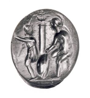 Diomedes og Odysseus på togt efter Palladiet. Hellenistisk-romersk ringsten