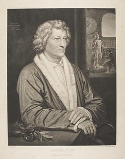 Portræt af Thorvaldsen foran atelieret