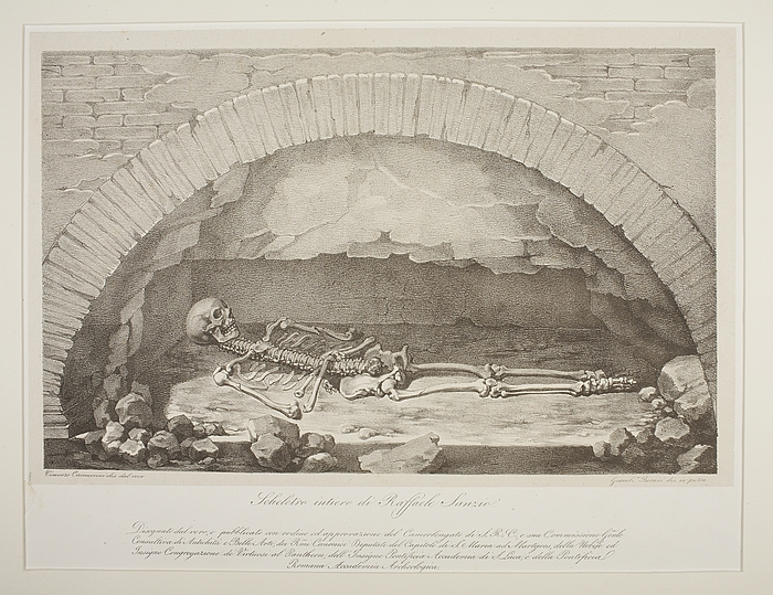 Rafaels skelet ved åbningen af hans grav